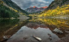 A new day at Maroon Bells - The famous Maroon Bells, Colorado  Best view in black background (click on the photo)