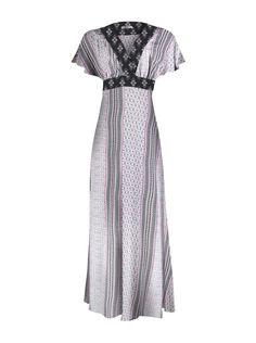 35b6499c56 Vestido longo hering kaftan em viscose com mangas curtas na cor cinza em  tamanho P.