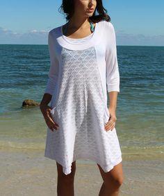 Love this White Three-Quarter Sleeve Tunic - Women by La Moda Clothing on #zulily! #zulilyfinds