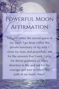 a wonderful affirmation to use during a new moon. The new moon energy is very supportive of new beginnings and starting fresh. It brings a powerful spiritual energy for change. You can use this affirmation to help you tap into this energy. Full Moon Spells, Full Moon Ritual, Witchcraft, Magick, Wiccan Spells, Magic Spells, New Moon Rituals, Moon Magic, Lunar Magic