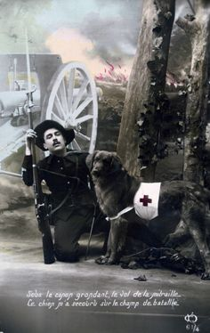 French WWI postcard, (Photo by Art Media/Print Collector/Getty Images) History Pics, World History, World War One, First World, Dogs With Jobs, 1914 1918, Battle Of The Somme, War Dogs, Military Dogs