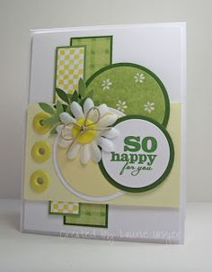 So Happy - Sentiment is from Verve and stamped in Garden Green ink. Designer paper is from one of Provo Crafts old biddy scrap pads. Green and yellow cardstock is from Bazzill. Used some big eyelets instead of self adhesive pearls. Button is from Oriental Trading Co, bow out of twine. Martha Stewart punch for leaf stems and placed them behind the silk daisy.