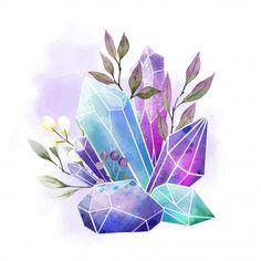 Watercolor gems, crystals and leaves, ha. Art Inspo, Kunst Inspo, Gem Drawing, Painting & Drawing, Illustration Cristal, Diamond Illustration, Pencil Art Drawings, Art Sketches, Cristal Art