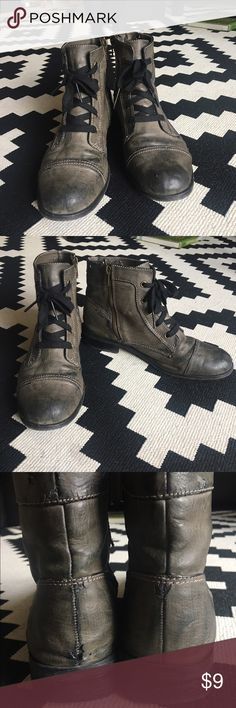 Gabriella Rocha Fashion Boots Fashion Ankle boot, dark green army color. Definitely well-loved, but they seem to look cuter the more worn they get! Pictures depict visible tears. The soles are also worn. Gabriela Rocha Shoes Ankle Boots & Booties