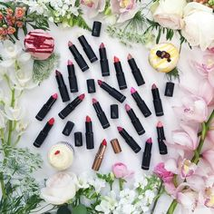 Our entire collection of lipsticks - we love how well the shades look together. Be sure to have a look at our previous post for a look at our beautiful new we'd love to hear what your favourite shades are Natural Lipstick, Pick One, Your Favorite, Table Decorations, Lipsticks, Shades, Instagram Posts, Food, Natural Beauty