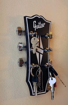 Guitar Rack Guitar Head key rack Guitar Shaped Key Rack Les Paul Key Holder Key holder Music Gift Guitar gift Key Rack is life Guitar Rack, Guitar Diy, Guitar Gifts, Music Gifts, Guitar Storage, Guitar Shelf, Guitar Display, Music Furniture, Diy Furniture