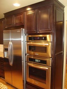 i like how cabinet above refrig is flush with oven cabinet unlike mine now. Interior Design Ideas. Home Design Ideas