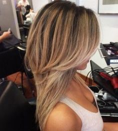 Balayage with a deep shadow root (diagonal back sections)