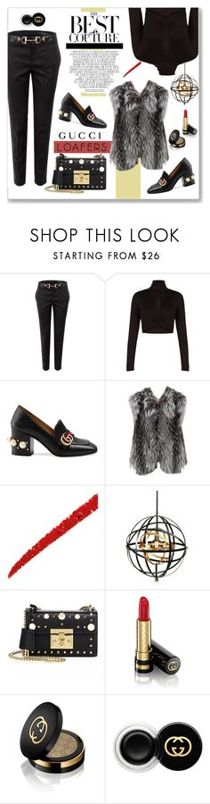 """Gucci Loafers"" by vickykirkpatrick ❤ liked on Polyvore featuring Gucci, BCBGMAXAZRIA, Whiteley, Louis Vuitton and Uttermost"