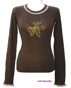 Schönes Herbstshirt mit Swarovski- Elements und Rüschengummiband an Ärmeln und Halsbund!