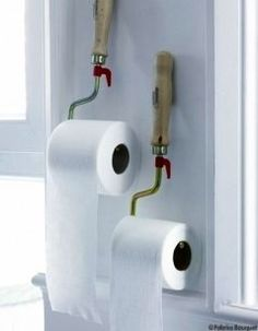 Paint rollers as toilet paper holders? Awesome!