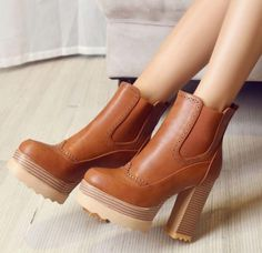 Autumn and Winter High Heels Platform Chunky Heeled Ankle Boots Shoes Woman Lace Up High Heels, Leather High Heels, High Heel Boots, Womens High Heels, Shoe Boots, Toe Shoes, Patent Leather, Platform Ankle Boots, Platform High Heels