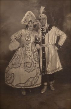 Ballets Russes Original French 1920s Vintage Real Photo Postcard RPPC Fancy Russian Couple of Dancers Studio Portrait in Elaborate Costumes