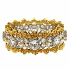 Buccellati Diamond Gold Wedding Band Ring   From a unique collection of vintage band rings at https://www.1stdibs.com/jewelry/rings/band-rings/