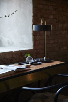 ARTILLERIET INSTAGRAM #20160216Lamp: Lindholdt Table LampDesk: No Early Birds Writing DeskChair: Ton Chair no 30 WienerstuhlDetails: Futagami Kuro-Mura Stationery Trays, Globe standing vase