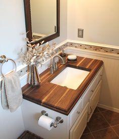 Wood Bathroom Countertops Ideas Inspirational Small Bathroom with Walnut Wood Countertop Wooden Bathroom Countertop, Counter Top Sink Bathroom, Bathroom Sink Decor, Small Bathroom Sinks, Bathroom Vanity Tops, Upstairs Bathrooms, Diy Bathroom Remodel, Wood Countertops, Bathroom Interior