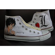 Death Note High Top Converse Shoes Custom Converse, Converse Shoes, On Shoes, Painted Canvas Shoes, Hand Painted Shoes, Gorillaz, Death Note, Converse Chuck Taylor, High Tops