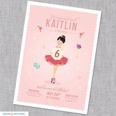 Ballerina Birthday Invitation - PRINTABLE. $15.50, via Etsy.