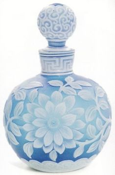 Perfume Bottle; Webb Glass, Cameo, Ovoid, Blue, Floral & Greek Key, 4 inch.