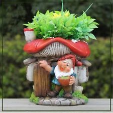 SINTECHNO Cute Gnome with Mushroom House Flower Pot Planter
