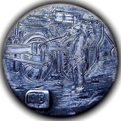 TOM MAHER HOBO NICKEL - RAIL MAN - 1918 BUFFALO NICKEL Hobo Nickel, Silver Coins, Hand Carved, Cactus, Carving, Artists, Personalized Items, Coins, Train
