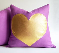 Sukan/ Purple gold pillow white and gold pillow pink by sukanart, $35.50 - ETSY; <3<3<3 @