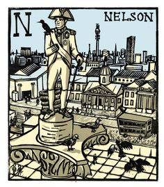 """N - Nelson"" from ""London A-Z"" Complete Boxed Set linocuts by Tobias Till, 2012. http://www.tobias-till.co.uk/"