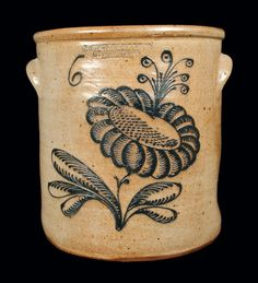 Exceptional STETZENMEYER & GOETZMAN / ROCHESTER, NY 6 Gal. Stoneware Crock -- Lot 147 -- July 20, 2013 Stoneware Auction -- Crocker Farm, Inc.