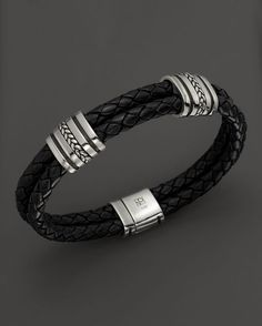 J. Goodman Sterling Silver Black Leather Braided Bracelet