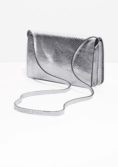 & Other Stories image 2 of Silver Snake Embossed Leather Bag in Silver