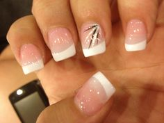 Homecoming nails, French w/ black and pink accent on ring finger