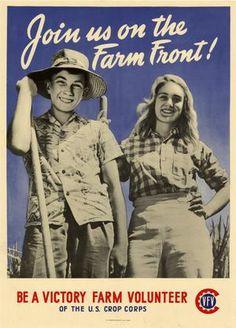 World War II poster of a young boy and girl working on a farm Canvas Art - John ParrotStocktrek Images x Farm Canvas Art, Victory Garden, Farm Photo, Vintage Farm, Vintage Signs, Military Art, Vintage Advertisements, World War Ii, Vintage Posters