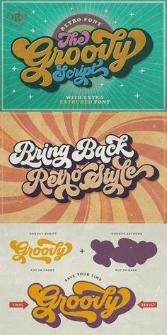 retro poster design Groovy is a great retro style font for your graphic and typographic designs that comes with extruded font version. Great font for creating posters and logo design. Art Deco Typography, Typography Alphabet, Typography Layout, Typographic Design, Vintage Typography, Typography Poster, Birthday Typography, Bold Typography, Vintage Fonts
