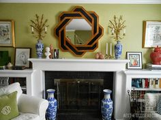 Welcome to our living room: Thought I'd leave the commentary for last this time. You walk RIGHT into our living r. Bookshelves Around Fireplace, Low Bookshelves, Fireplace Built Ins, Fireplace Surrounds, Eclectic Fireplace Mantels, Mantles, Fireplace Mantle, Living Room Modern, Home Living Room