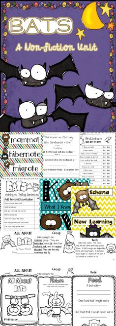 This goody pack will teach your students all about bats.  Nonfiction research and mini book, literature connections to Stellaluna and There was an Old Lady, crafts, word work, and more!