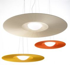 Annarosa Romano and Bruno Menegon have designed a ceiling lamp named Mood, for lighting manufacturer ModoLuce. Lights and shadows calibrated to build light, and coloured discs in different diameters, alternating original materials, hand finished pleated fabric, and the large central half-spherical shade in opal, result in restful light for the eyes. http://www.contemporist.com/2014/03/12/mood-by-annarosa-romano-and-bruno-menegon-for-modoluce/