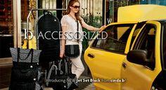 Jet Set Black handbags, travel bags, totes from www.daniellesdives.com