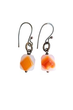 """A splash of orange is all you need!  Measurements: 1/2"""" W (stone) 1 1/4"""" L (bottom to ear wire)  Earrings by Lococina. Accessories - Jewelry - Earrings Canada"""