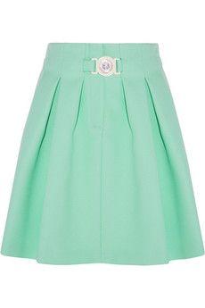 KENZO Pleated crepe mini skirt   NET-A-PORTER