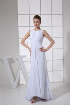 Sheath/Column  Train White  Prom Dress