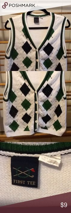 """Women's Vintage Golfing Sweater Vest Size M Sweet white, green and blue cotton sweater vest by First Tee. In good used condition. 36"""" bust, 38"""" waist, 38"""" hips, 21"""" long. First Tee Sweaters"""