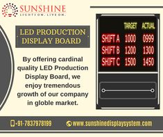 To monitor the production rate in the industry, LED Production Display Boards are used which displays the data required for efficient work. Led Display Board, Video Wall, Presentation, Conditioner, Boards, Industrial, Organization, Marketing, Business