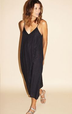 TWO Black Grid Slip Dress with Grosgrain ribbon. #two #cloth #all