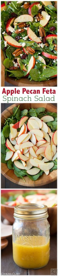 Apple Pecan Feta Spinach Salad with Maple Cider French dressing - this salad is a mu. Apple Pecan Feta Spinach Salad with Maple Cider French dressin. Vegetarian Recipes, Cooking Recipes, Healthy Recipes, Healthy Salads, Healthy Eating, Taco Salads, Savory Salads, Summer Salads, Spring Salad