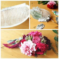 Les fleurs du paradis — Elodie Perrier Hairfascinator#redPierreDeRoncard#pink#dahlias#amaranthus#dustymiller