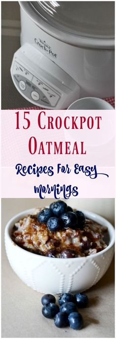 15 Crockpot Oatmeal Recipes for Easy Mornings. Yummy easy slow cooker oatmeal recipes for your family. A great list of easy family breakfast recipes.