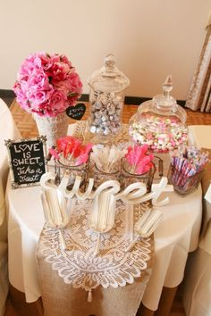 Candy table at my daughter's bridal shower.