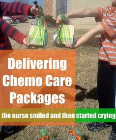 "Pennies of Time: ""Penny of Time"" Adventure: Delivering the Chemo Care Packages.  After making chemo care packages in a previous ""penny of time,"" we took a few minutes the next afternoon to deliver them to an oncology office.  The nurse's emotional response suprised me.  Another reminder that your actions affect others.  Teach children to serve."