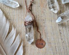 raw quartz point crystal necklace crystal jewelry by OmSaha