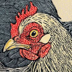 Three Pekins Linocut chicken detail by Vanessa Lubach